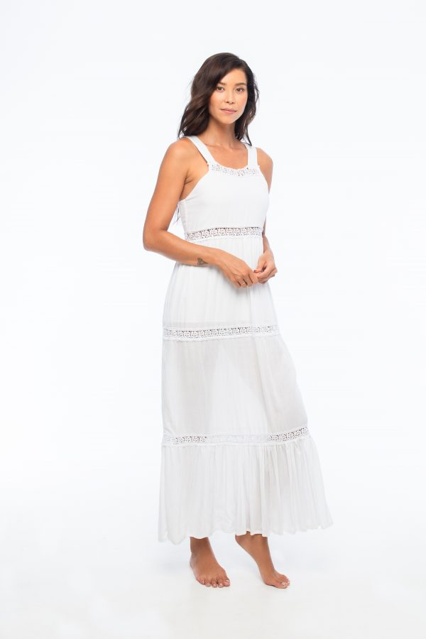 D by dashoppe Cami Maxi Relaxed White Lace Dress.