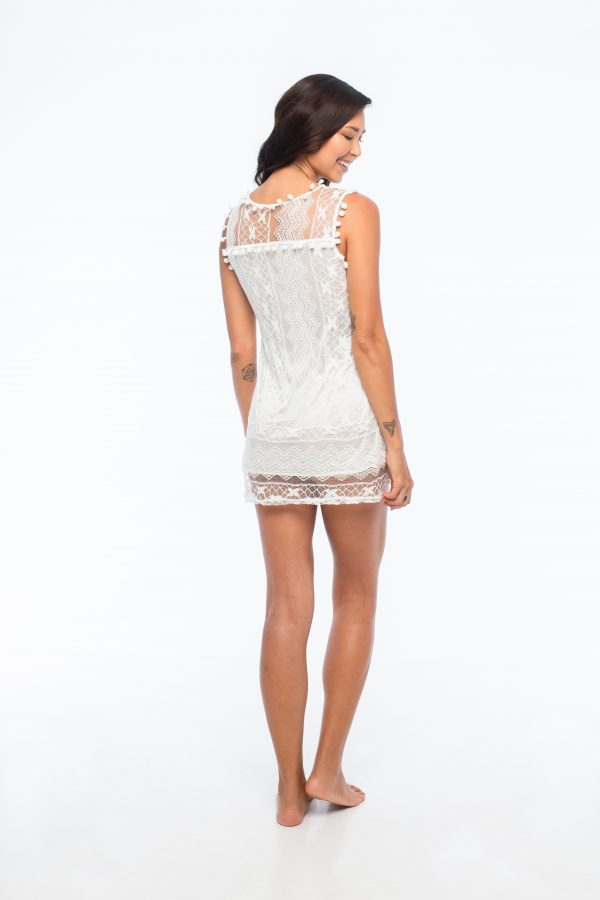 D by dashoppe Chic Blanco Mini Lace Dress.