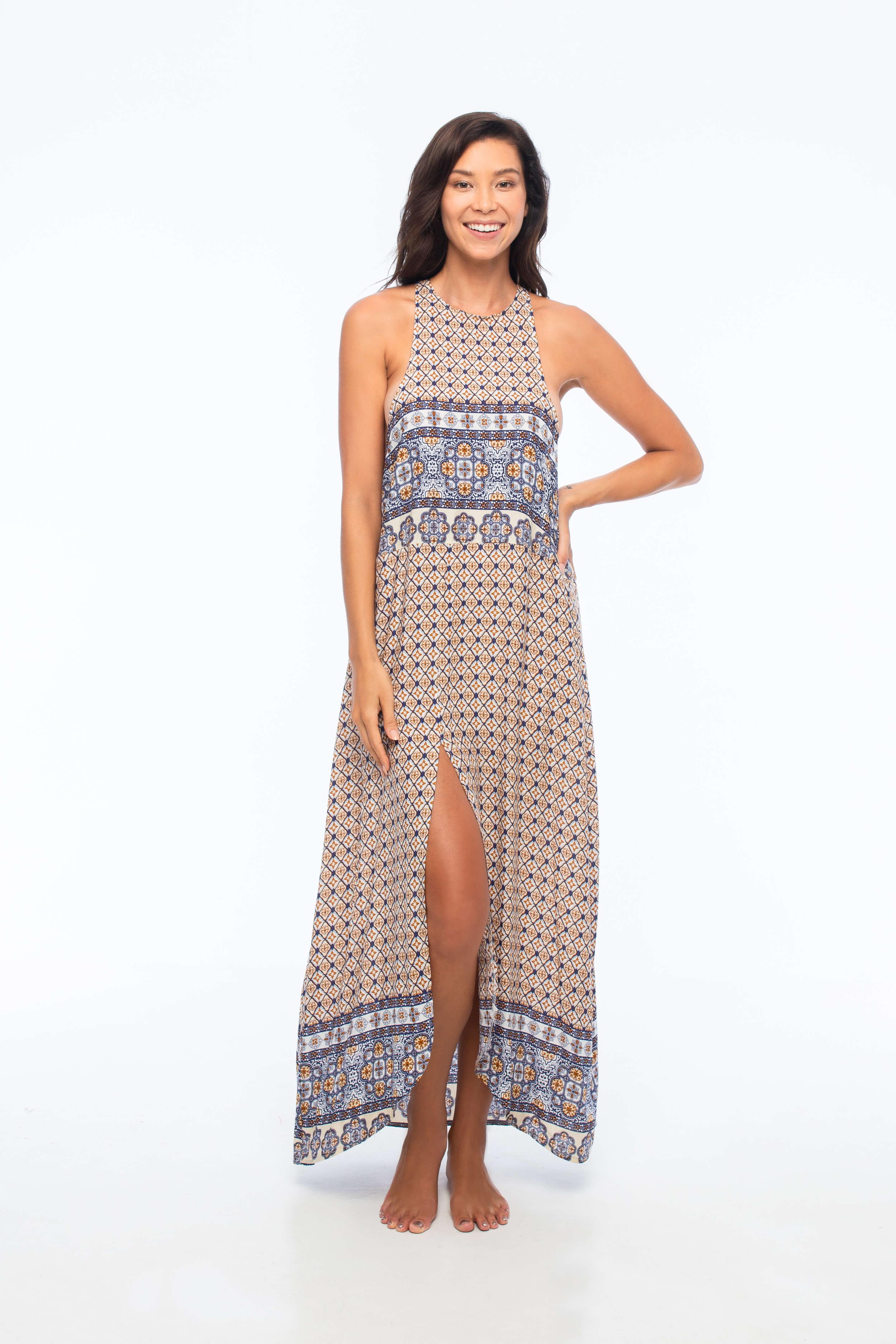 D by dashoppe d-Boho Maxi Daszki Glowe Brown Dress.