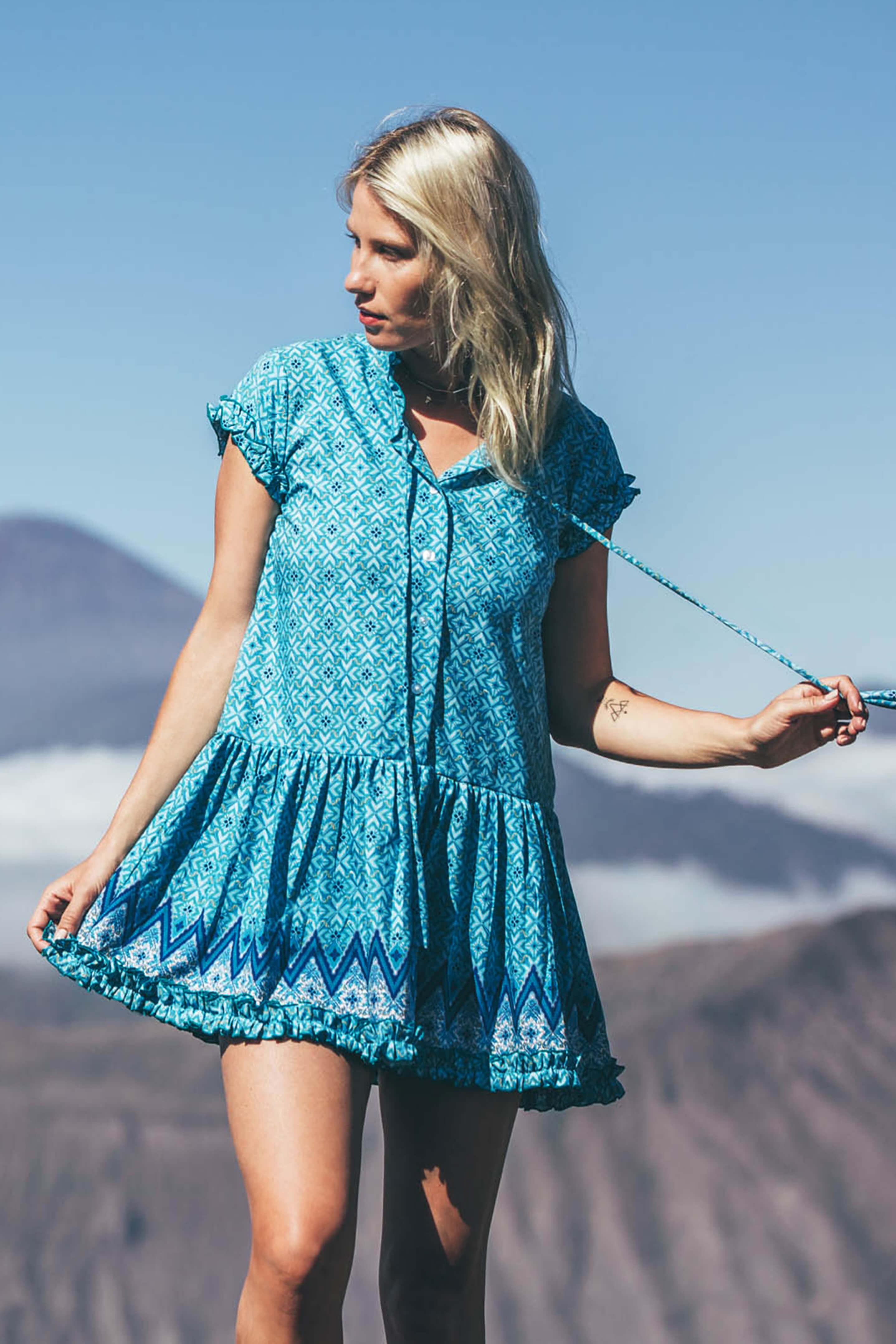 D by dashoppe Short Pretty Flower Strip Blue Dress
