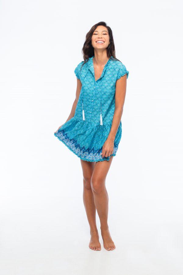 D by dashoppe Flower Mini Blue Dress Front Look.