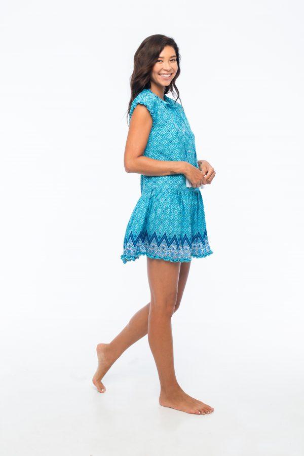 D by dashoppe Flower Strip Blue Dress Side Look.