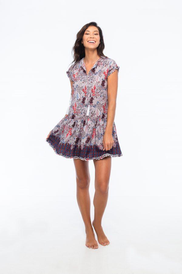 D by dashoppe Batik Flower Mini Strip Purple Dress.