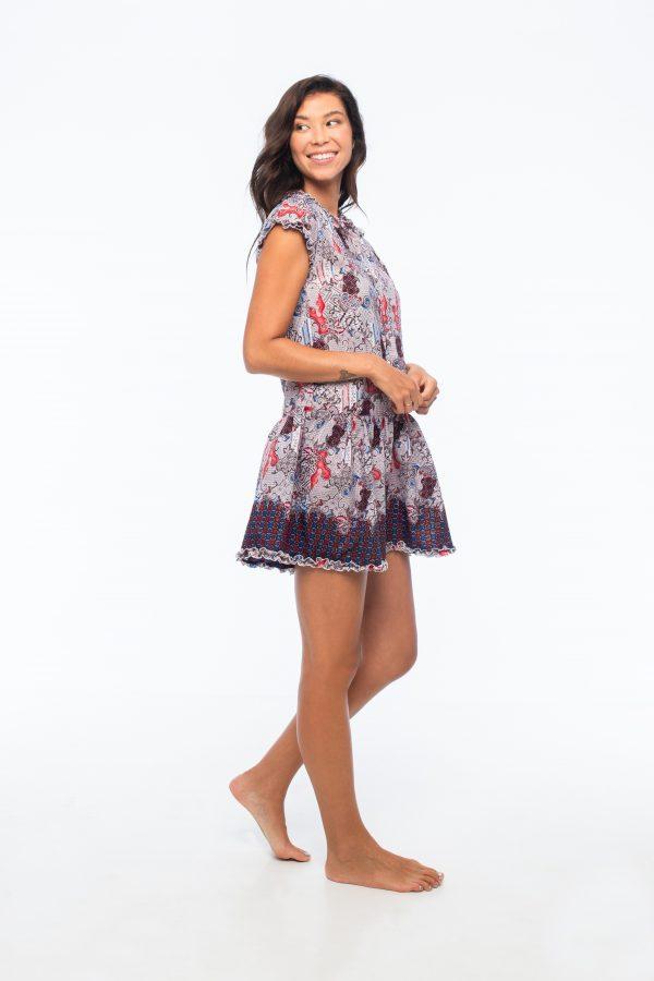 D by dashoppe Flower Batik Mini Strip Purple Dress.