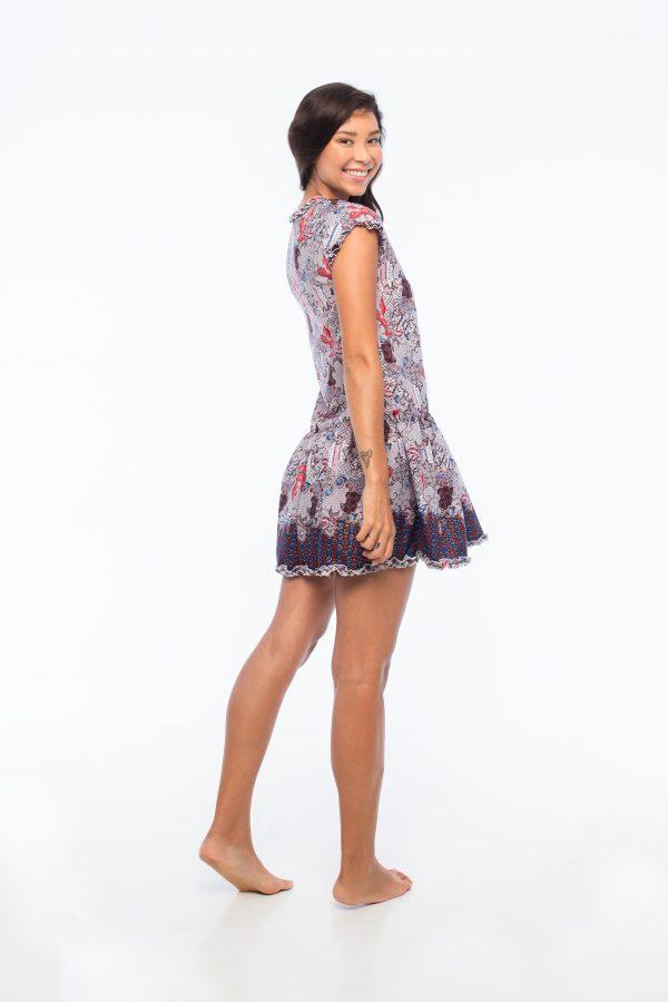 D by dashoppe Flower Mini Strip Charming Batik Purple Dress.