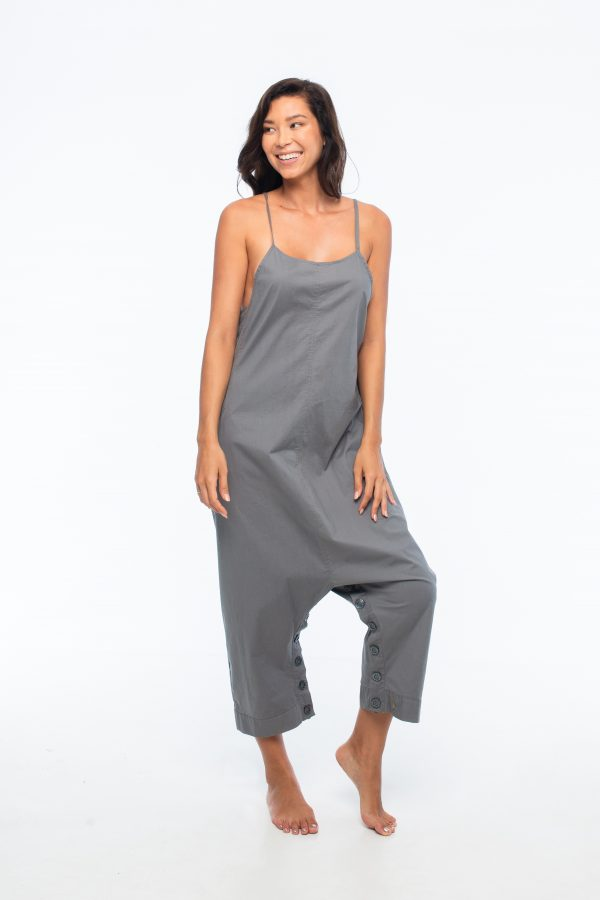 D by dashoppe Loose Round Ankle Grey Comfy Jumpsuit.