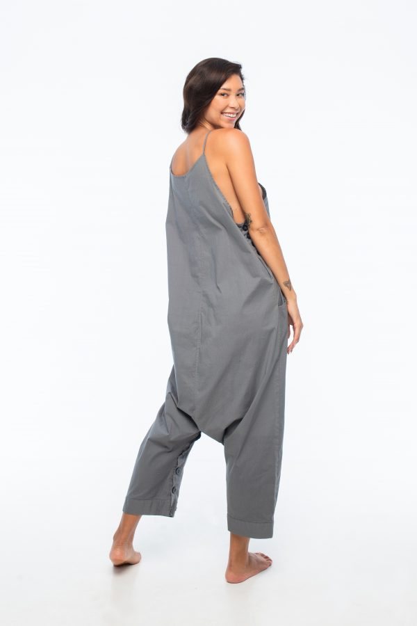 D by dashoppe Loose Round Ankle Grey Jumpsuit.