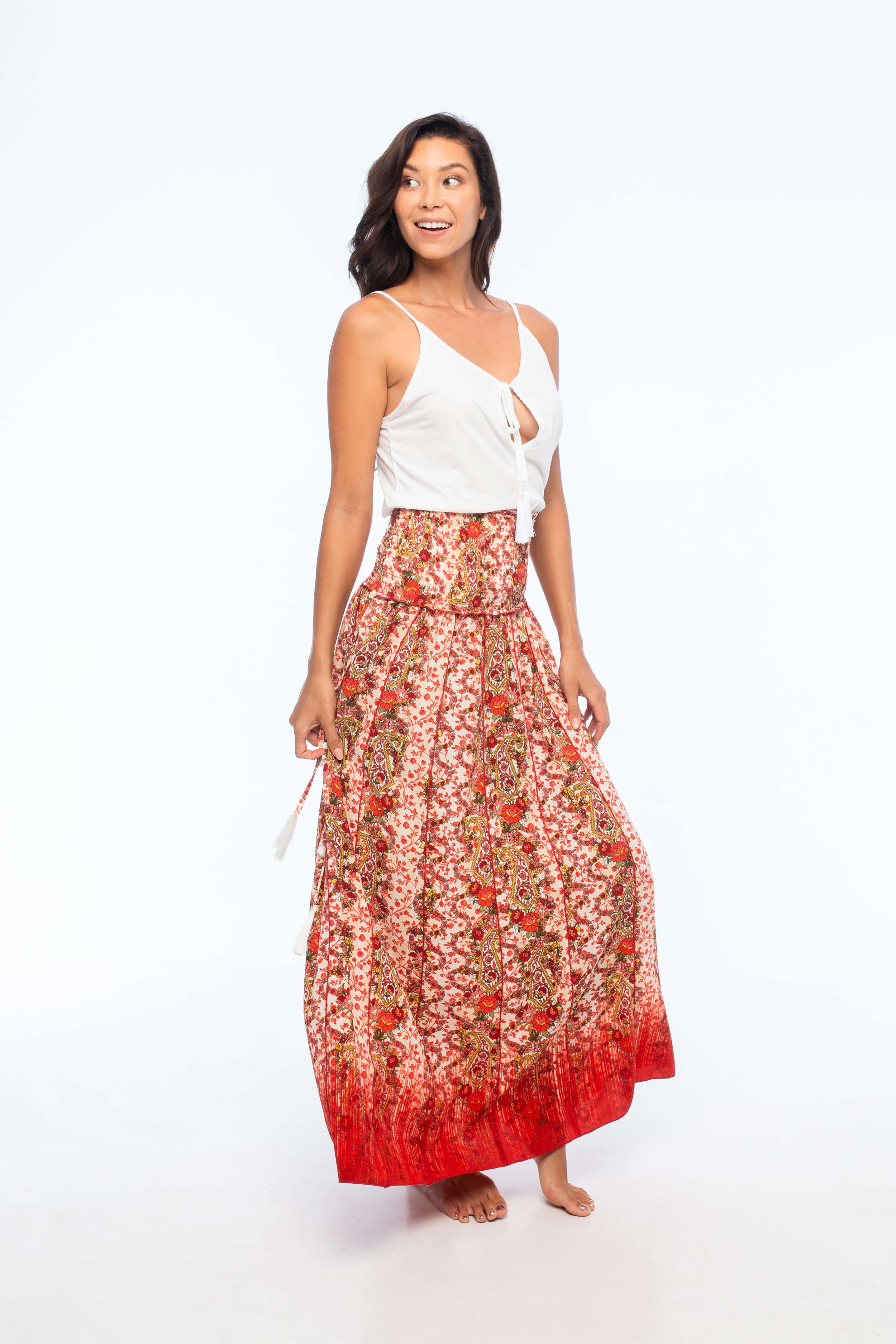 D by dashoppe Mya Long Skirt Orange Dress.