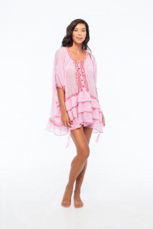 D by dashoppe Mya Mini Poncho Lovely Pink Dress.