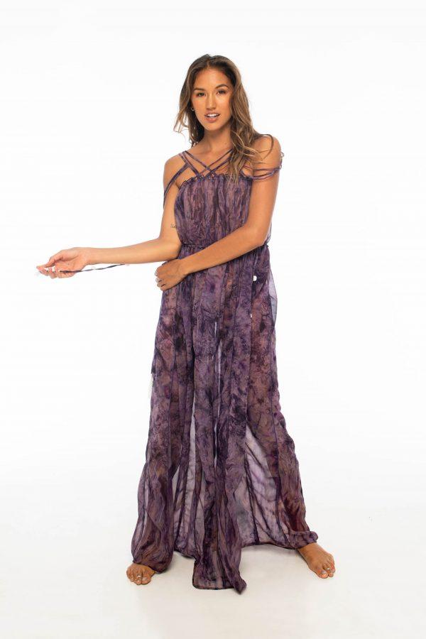D by dashoppe Mya Vertical Long Purple Dress Front Look.