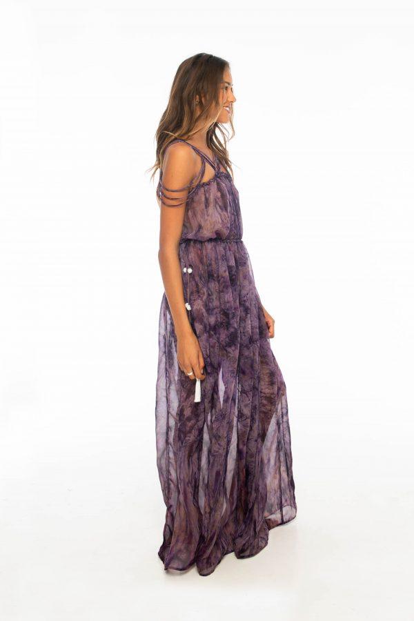 D by dashoppe Mya Vertical Long Dress Purple Side Look.