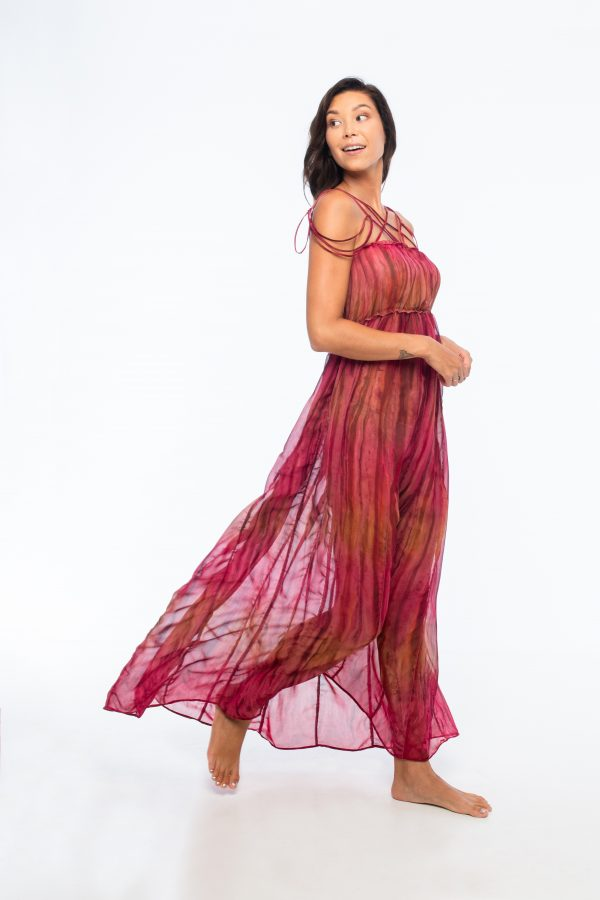 D by dashoppe Mya Vertical Long Red Beautiful Dress.