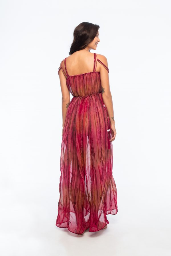 D by dashoppe Mya Vertical Long Dress Red Color.