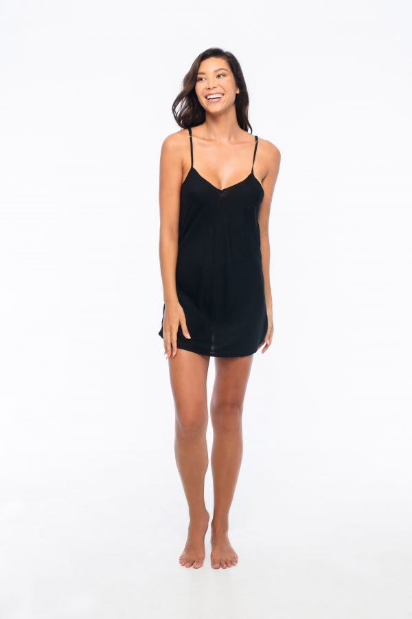 D by dashoppe Relaxed Off Shoulders Black Satin Dress.