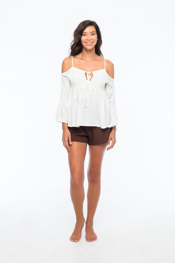 D by dashoppe Spaghetti Strap Cold Top Shoulders Front Design.